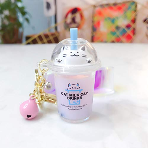 gerFogoo Milk Tea Keychain Key Ring Hand Wrist Strap Keyring PVC Cartoon Women Bag Hanging Pendant Key Chains for Women Girls Bag Pendant(Purple)
