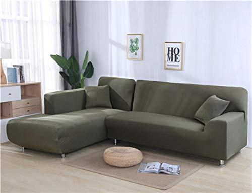 XCVBSofa Cover Sofa Stretch Couch Cover Kussenovertrekken voor Woonkamer Effen Kleur Elastische Sofa Cover voor L-vormige Hoekbank Chaise Longue, Grijs Groen