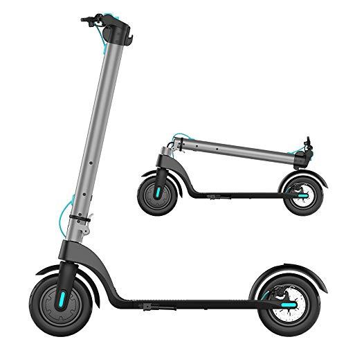 ZJING Scooter Eléctrico para Adultos, 25 Kilómetros De Larga Distancia, Velocidad De hasta 25 Km/H, Motor De 350 W con Pantalla LCD, Scooter Eléctrico Plegable Híbrido para Adultos,Plata