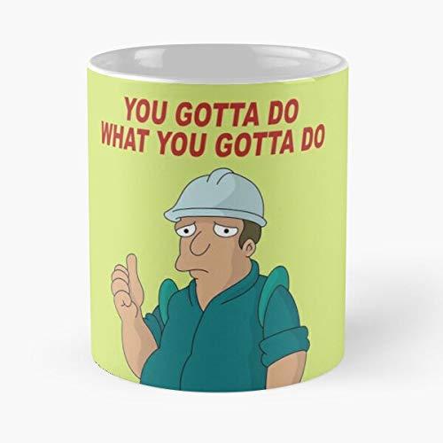 Futurama Best - Taza de café de cerámica de 325 ml con texto en inglés 'Eat Food Bite John Best Taza de café de cerámica de 325 ml