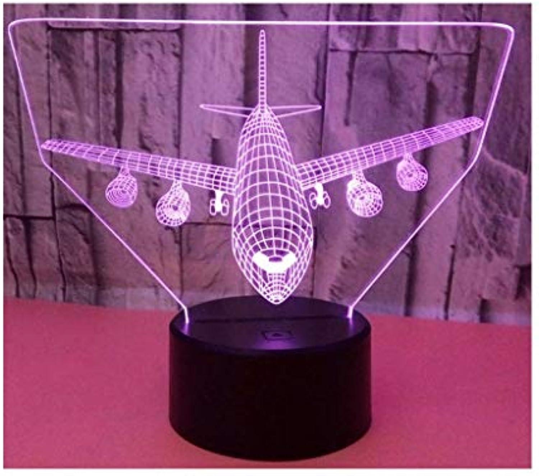 Neuheit Lampe, Flugzeug 3D Nachtlicht, mit Fernbedienung Bunte Farbe LED Optische Tuschung Schreibtisch Lichter für Dekorative Beleuchtung Geburtstagsgeschenk, Berührungsschalter