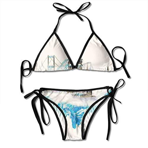 Adjustable Bikini Set Halter Ladies Swimming Costume, Watercolor Winter Collage with Galata Tower Hagia Sophia Historical Architecture,Halter Beach Bathing Swimwear