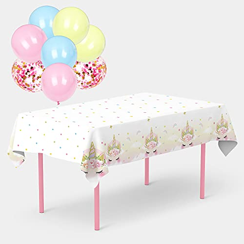 Gatherfun Mantel desechable con diseño de unicornio, 2 unidades, color rosa y blanco con 8 globos de unicornio para niñas, fiesta de...