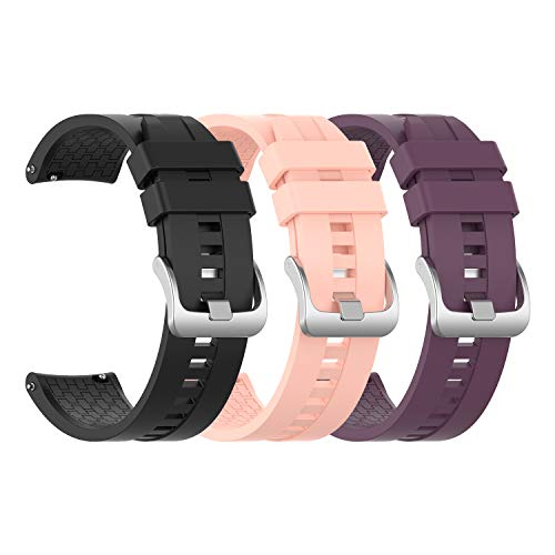 EEweca 3-Pack Silicone Bands for Huawei Watch GT Classic Replacement Strap (Black, Pink, Purple)
