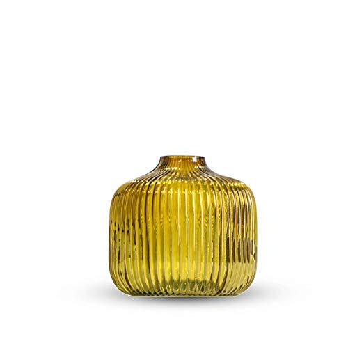Black Velvet Studio Vaso in Vetro Decorativo Peonia, Piccolo Vaso per Fiori, 10 cm di Altezza x 11 cm di Diametro, Colore Giallo