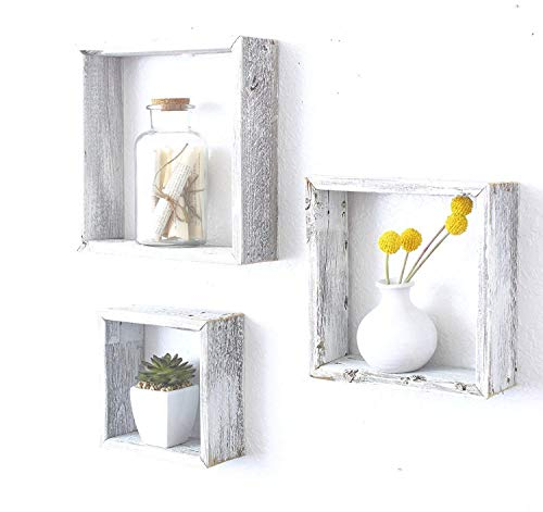 Homewell Set of 3 Square Floating Shelves, Solid Fir Wood Cube Wall Shelves for Home Decoration, Storage Display Rack.