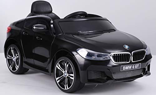 RIRICAR Elektrische Fahrt mit dem Auto BMW 6GT - Einzelsitz, Schwarz, original lizenziert, batteriebetrieben, öffnende Türen, 2X Motor, Batterie 2X 6V / 4 Ah, 2,4-GHz-Fernbedienung, weicher Start