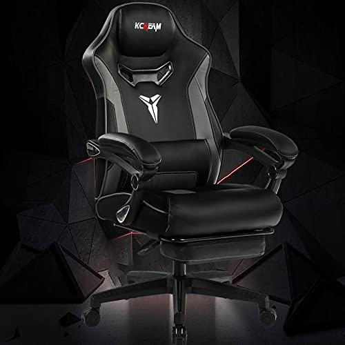 KCREAM Gaming Chair, großer ergonomischer Computerstuhl mit integrierter Fußstütze für die Lordosenstütze und verstellbarem Recliner PC-Gamer-Stuhl aus PU-Leder mit hoher Rückenlehne (8521-Grau)