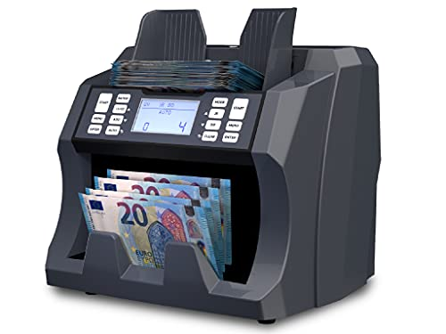 Detectalia V75 - Contabanconote per banconote non miste per qualsiasi valuta con rilevamento della contraffazione in 4 punti - 27 x 21 x 24 cm