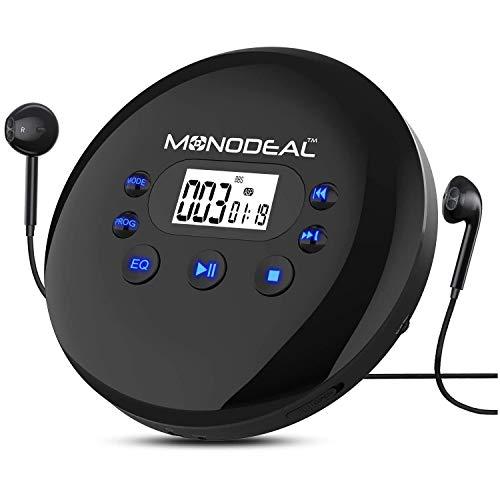 MONODEAL Tragbar CD-Player, 2021 Personal CD Player, Tragbarer Discman mit Kopfhörern/LCD-Display/USB-Ladekabel/AUX-Kabel/Samtbeutel, für Autos Erwachsene Kinder Studenten