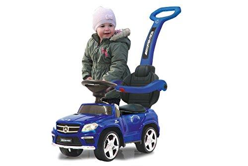 Jamara 460307 Rutscher Mercedes GL63AMG Blau 2in1 - Kippschutz, Kunstledersitz, Kofferraum, Schub- und Haltestange mit Rückenlehne/Schutzbügel, Scheinwerfer Vorne/Hinten, Motorsound, Hupe, Musik