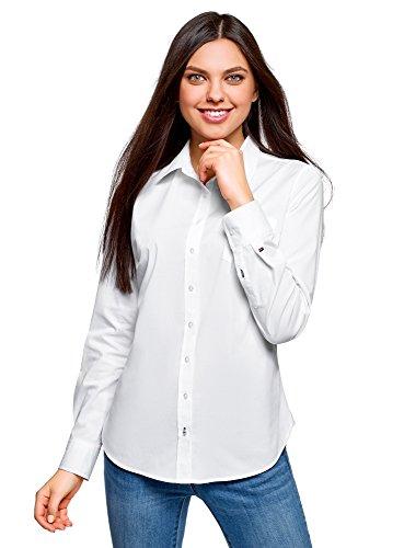 oodji Ultra Donna Camicia Basic con Una Tasca, Bianco, IT 40 / EU 36 / XS