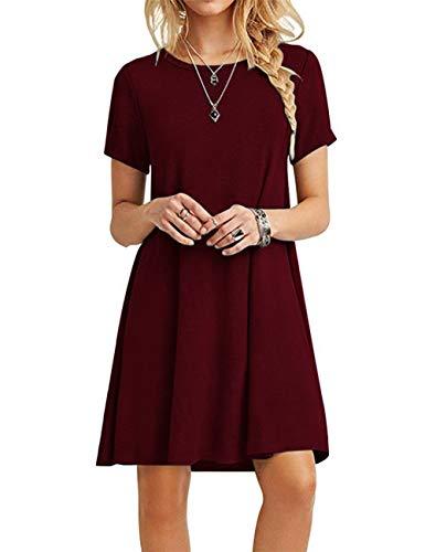 MOLERANI Women's Casual Plain Short Sleeve Simple T-Shirt Loose Dress Wine Red XL