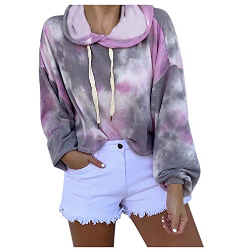 HCSY Sudadera con Capucha Tie-Dye para Mujer, Ropa Deportiva Holgada, Sudadera de Gran tamaño, Camisetas de Manga Larga para otoño