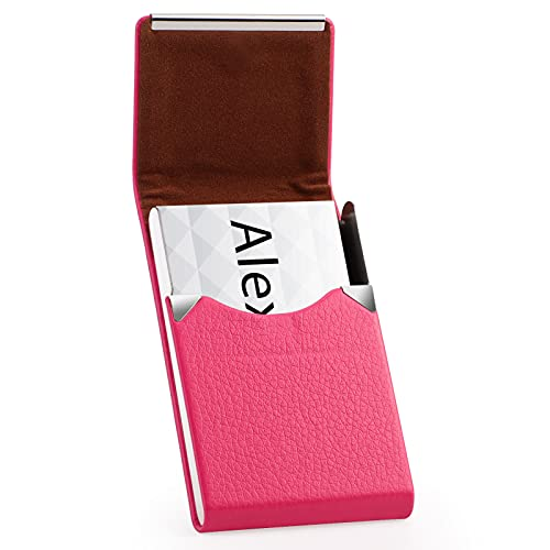 MaxGear Leather Business Card Holder for Women Leather Stainless Steel Business Card Case with Magnetic Shut - Rose Red