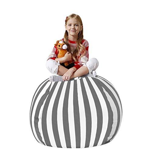 LinkIdea Extra großer Sitzsack für Kinder, 100 % Baumwoll-Leinen, mit Reißverschluss, gefüllt, 90 + Plüsch-Halter und Organizer für Kinderspielzeug, 96,5 cm, grau gestreift