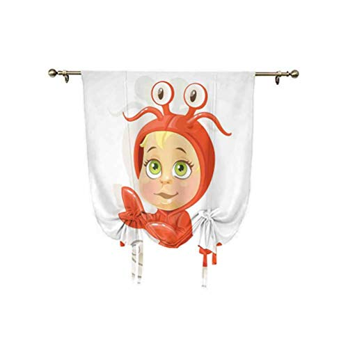 Astrology Small Window Curtain,Funny Baby Cancer Sign with Claws and Four Eyes Joy Kids Happiness on Stars Decoration Thermal Insulated Balloon Roman Shades,39x47 Inch,for bathroom window Red