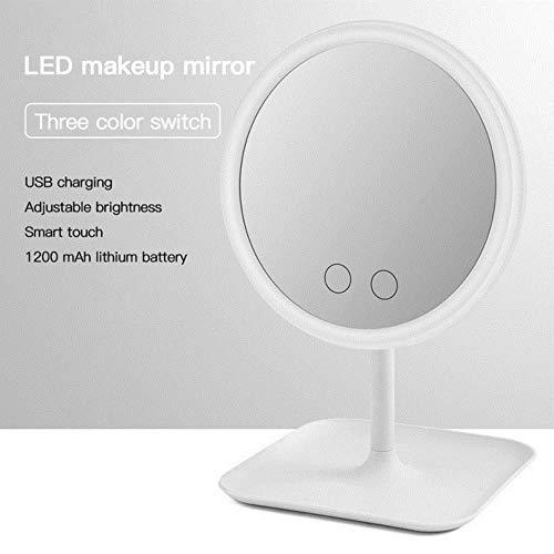 LCZMQRCLMZRQ Met led-lamp make-upspiegel kaptafel spiegel schoonheid ringlamp spiegel schoonheid gereedschapswissel foto invullicht draagbare kleine spiegel, driekleuren spiegel