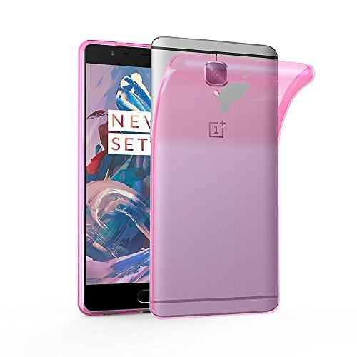 Cadorabo Hülle für OnePlus 3 / 3T - Hülle in TRANSPARENT PINK – Handyhülle aus TPU Silikon im Ultra Slim 'AIR' Design - Silikonhülle Schutzhülle Soft Back Cover Case Bumper