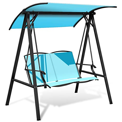 Tangkula 2-Person Patio Swing, Weather Resistant Glider with Adjustable Canopy, Outdoor Modern Canopy Swing Hammock Seats with Handrails Suitable for Porch Garden Poolside (Turquoise)