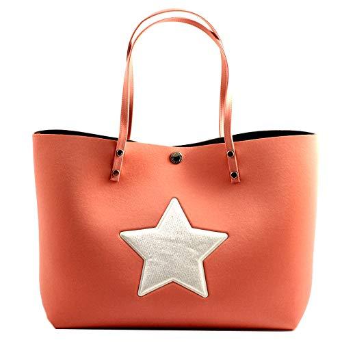 Shopping bag in neoprene arancione con manici a spalla, applicazione senza cuciture glitter a forma di stella MADE IN ITALY. altezza 33 cm. larghezza base 40 cm. profondità base 16,5 cm.