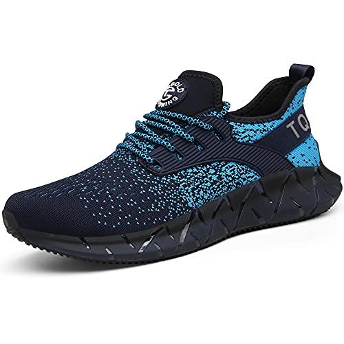 AONETIGER Laufschuhe Herren Damen Leichtgewicht Sportschuhe Freizeit Turnschuhe Atmungsaktive Sneaker Walkingschuhe Straßenlaufschuhe Joggingschuhe Fitness Schuhe (Größe 43EU,Blau)