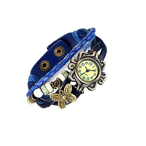 JewelryWe Damen Armbanduhr, Retro Vintage Analog Quarz Uhr mit Schmetterling Beads Kugeln Charm Leder Armkette Armband, Blau