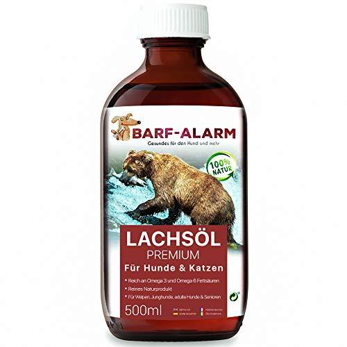 barf-alarm Premium Lachsöl für Hunde 500ml mit Omega 3 und Omega 6 Fettsäuren – Fischöl für den Hund – Barf Lachs für Welpen Adulte Senioren & Sporthunde
