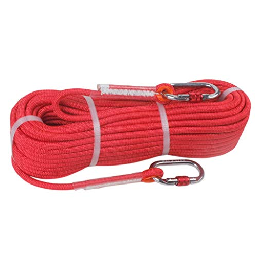 WSJ Outdoor Climbing Rope/Speed Drop Rope/Static Rope/Emergency Rescue Rope, High Strength Nylon Rope - Diameter 9mm, Red (Size : 20m)