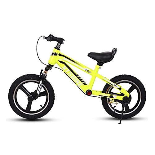 DFBGL Bici Senza Pedali per Ragazzi con Freno e poggiapiedi, Bicicletta da Passeggio Senza Pedali per Principianti da 14 pollici/16 Pollici, carico: 80 kg (Color : Yellow, Size : 14 inch