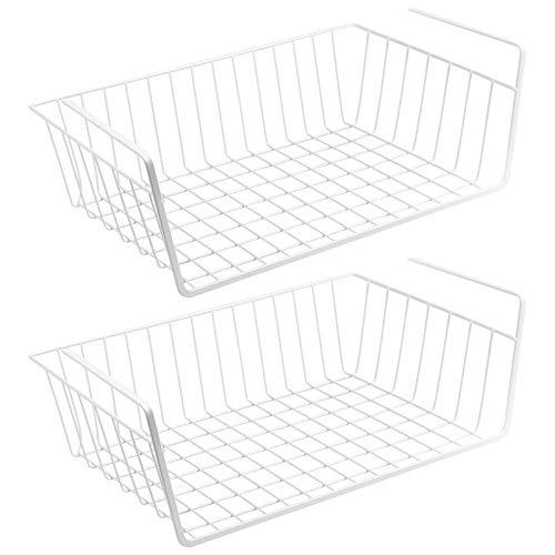 WELLGRO 2er Set Schrankkörbe zum Einhängen aus Metall - ca. 41 x 25 x 14 cm (LxBxH) - schaffen Sie zusätzlichen Platz - weiß