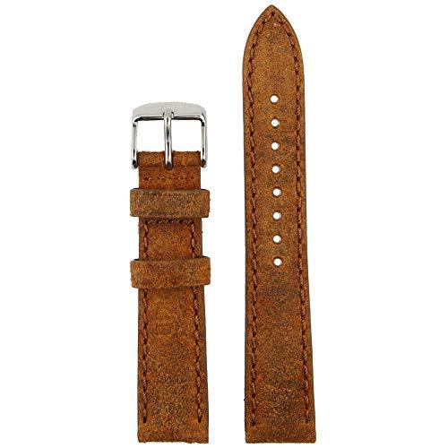 Kapten & Son Cinturino per orologio, vintage, in pelle, marrone, in acciaio...