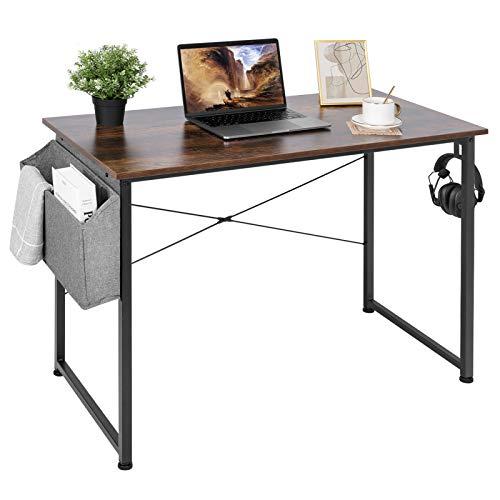 AuAg Schreibtisch 100 x 50 cm, Computertisch mit Aufbewahrungstasche, PC-Tisch Bürotisch Officetisch für Home Office Schule, Stabil Laptop-Tisch Arbeitstisch (Vintage Braun)