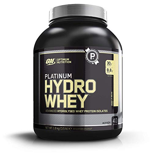 Optimum Nutrition Hydro Whey Hydrolysed Whey Protein Isolate with Essential Amino Acids, Glutamine and BCAA, Vanilla, 40 Servings, 1.6 kg, Packaging May Vary