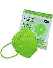 Media Sanex 25 stuks adembeschermingsmasker, FFP2, mondmasker, perfect voor mond- en neusbescherming, beschermend masker, adembeschermingsmasker, 5-laags, CE-gecertificeerd, afzonderlijk verpakt, verschillende kleuren (lichtgroen)