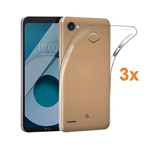 REY 3X Funda Carcasa Gel Transparente para LG Q6 / LG Q6 Plus/LG Q6 Alpha, Ultra Fina 0,33mm, Silicona TPU de Alta Resistencia y Flexibilidad