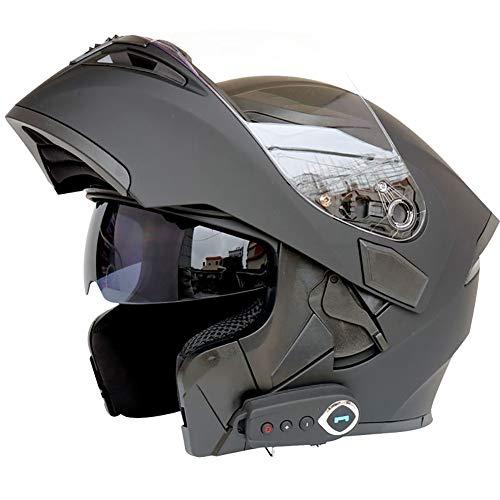 TKer Casco de Motocicleta Integrado Bluetooth, Cascos modulares de Moto de Visera Doble con Visera Completa para Hombres y Mujeres Adultos, Certificación ECE,Negro,XL