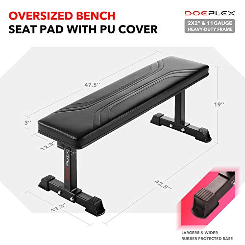 Doeplex Flat Weight Bench, Sit-up Abdominal Exercise Workout Bench - 1,200 lb Rating for Weightlifting
