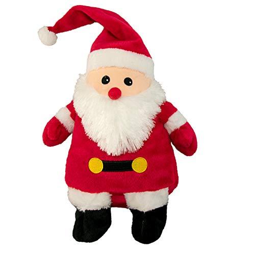 Kuschelweihnachtsmann Wärmekissen: Körnerkissen mit Hirsefüllung für Mikrowelle oder Backofen, Plüschtier Weihnachtsmann für Kinder und Erwachsene
