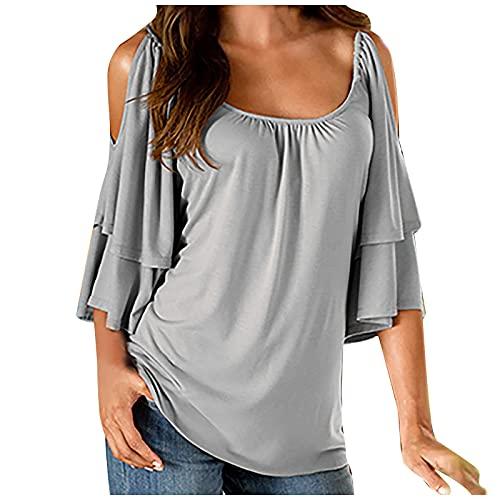 UEsent Camiseta de manga corta para mujer, sexy, elegante, camiseta de verano, hombros fríos, manga corta con cuello en U, informal, suelta, de verano, sin hombros, de un solo color. gris XL