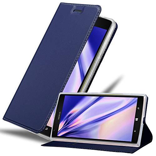 Cadorabo Hülle für Nokia Lumia 1520 in Classy DUNKEL BLAU - Handyhülle mit Magnetverschluss, Standfunktion & Kartenfach - Hülle Cover Schutzhülle Etui Tasche Book Klapp Style