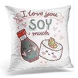 N\A Throw Pillow Cover Pun Quibble Love Cute Sushi Salsa de Soja Personajes Letras Texto I You Much Funda de Almohada Decorativa romántica Decoración del hogar Funda de Almohada Cuadrada