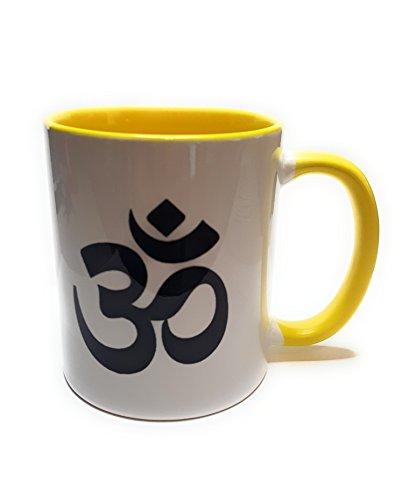 Dreamlife Kaffee- /Teetasse OM gelb mit Geschenkskarte (Hindus, Jainas, Buddhisten)