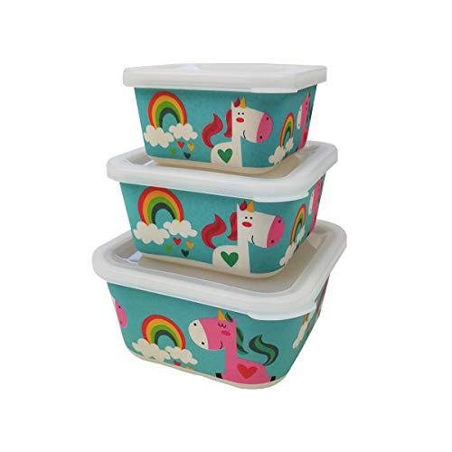 Various 3 Fiambreras bambú Infantil,Ecológico sin BPA,Ideal para Bebés y Niñas,Apto para Lavavajilla-Unicornio Azul