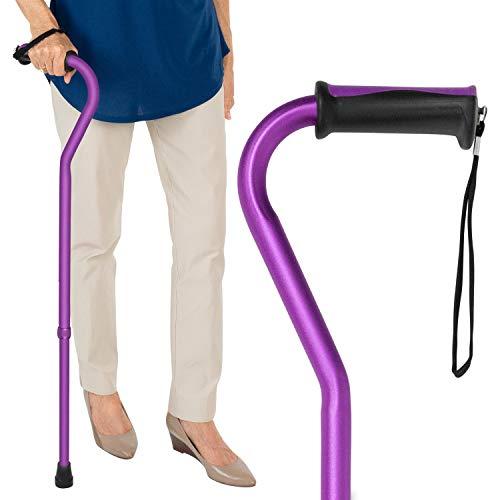 Vive Walking Cane  for Men amp Women  Portable Adjustable Offset Balance Stick  Lightweight amp Sturdy Mobility Walker Aid for Arthritis Elderly Seniors amp Handicap Purple