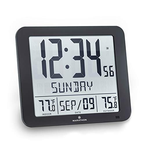 Marathon Slim Atomic Wall Clock with Indoor/Outdoor Temperature, Full Calendar and Large Display - Batteries Included - CL030027-FD-BK (Black)