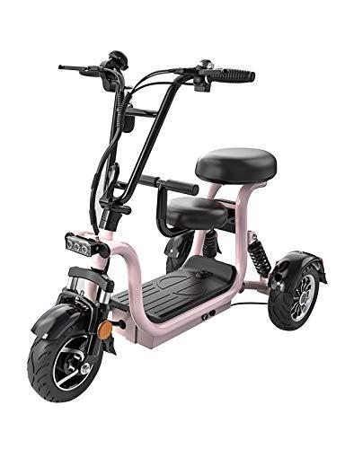 YF-Mirror Scooter de Movilidad eléctrico bariátrico de 3 Ruedas de Largo Alcance 40 km rápido 30 km/h Capacidad de Peso 150 kg - Amarillo, Rosa, Blanco