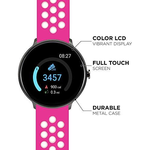 iTouch Sport - Smartwatch rotondo con tecnologia impermeabile, cardiofrequenzimetro, modalità multi-sport, contapassi, per smartphone Android e iOS, cinturino in silicone perforato Fucsia/Bianco