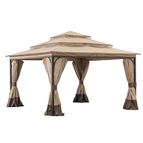 Moorgate 12x12 ft. Steel Gazebo with 3-Tier Canopy, Tan and Brown - Sunjoy A101012300
