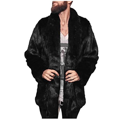 Reooly Abrigo Grueso y cálido de Moda para Hombre Abrigo de Manga Larga de Piel sintética Chaqueta de Punto(Negro,Small)